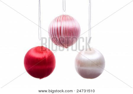 Vintage Christmas Balls Striped Hanging Isolated