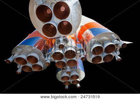 Space Rocket Engine Over Black Background