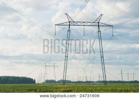 Electricity pylons and lines.