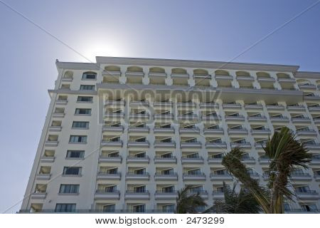 White Hotel Balconies At Noon