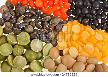 Mix from different legumes, peas, lentils,
