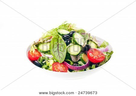 Isolated Bowl Of Fresh Mesclun Salad