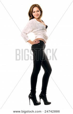 Beautiful Smiling Girl In Black Tight Jeans