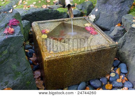 Japanese Bamboo Fountain With Stone Basin