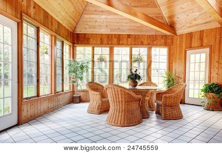 Wooden wall sun room interior image photo bigstock for Sunroom interior walls