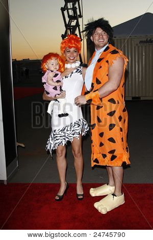 SANTA MONICA, CA - OCT 29: Melissa Ryecroft,Tye Strickland,daughter Ava at the 18th Annual 'Dream Halloween Los Angeles' at Barker Hangar on October 29, 2011 in Santa Monica, California