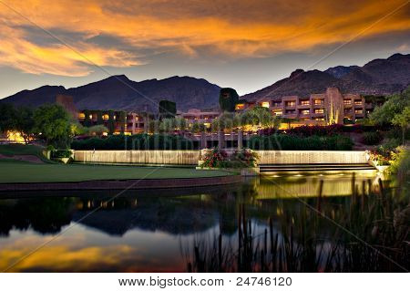 Luxury Hotel Resort At Twilight