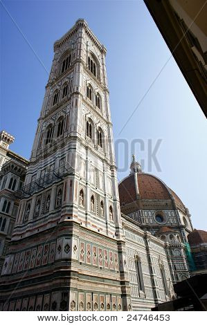 Giotto's Campanile and Brunelleschi's Dome in Florence, Italy