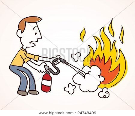 Man putting out a fire