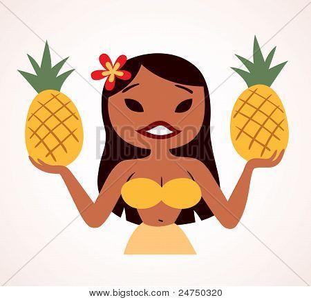 pretty pineapple hula girl