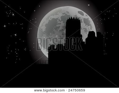 dark illustration with castle and night sky background