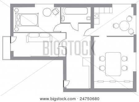 illustration with flat plan isolated on white background