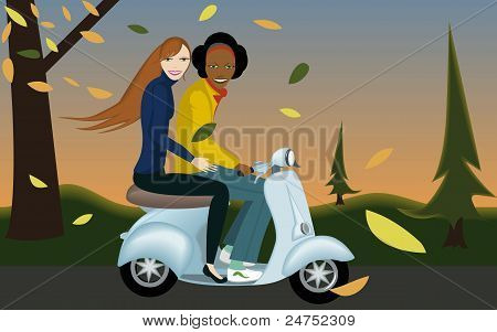 Friends Ridding Scooter