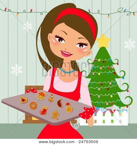 Woman is making christmas cookies. Eve is baking christmas cookies. Lifestyle vector Illustration