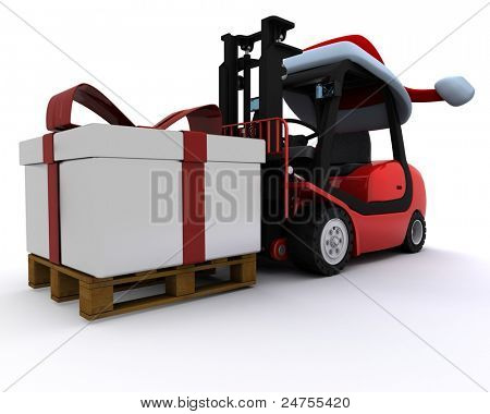 Robot with sleigh and reindeer