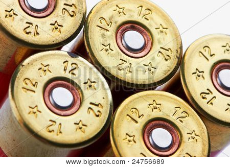 shotgun shells on white background
