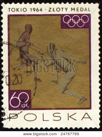 Two Fighting Fencers On Post Stamp