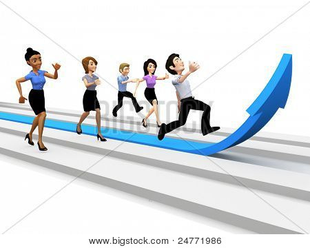 3D business team running and competing for success