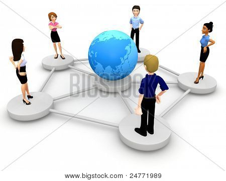 3D people from around a globe representing social networking - isolated over white