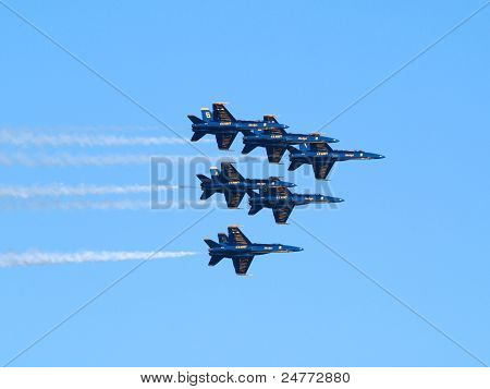 Six Blue Angels Fly In Tight Triangle Formation As Afterburns Fire