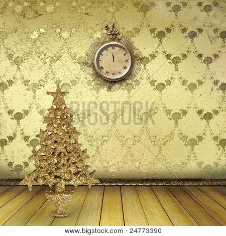 Weihnachtsbaum im alten Zimmer mit Uhren