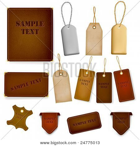 Mega set of leather labels and tags. Vector illustration