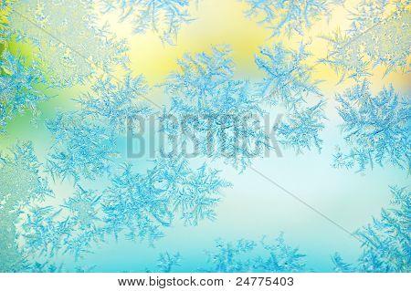Frost on window glass