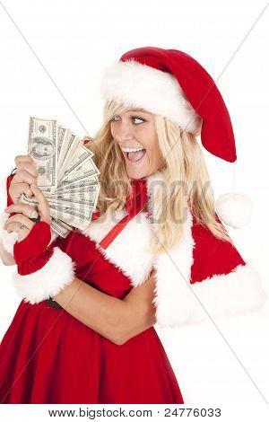 Mrs Santa Money Very Happy