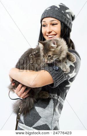 Young lady with a cat