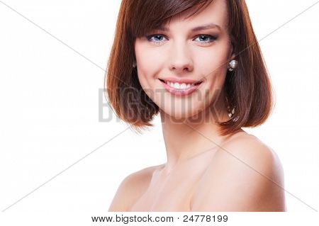 portrait of pretty smiley model. isolated on white background
