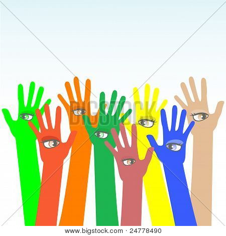 happy multicolored vector hands with beautiful eye