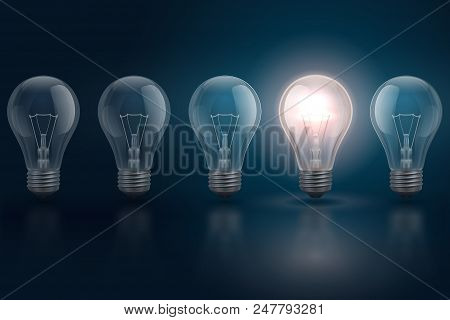 poster of Creative Idea Concept With Light Bulbs And One Of Them Is Glowing. Leadership, Individuality, Opport