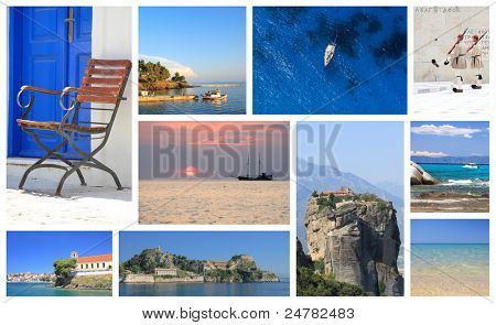 set of summer photos of Greece