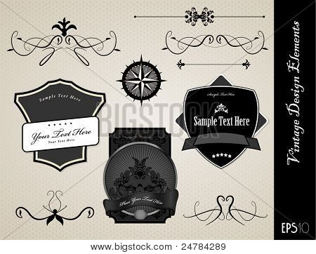 Collection of black and white ornate labels