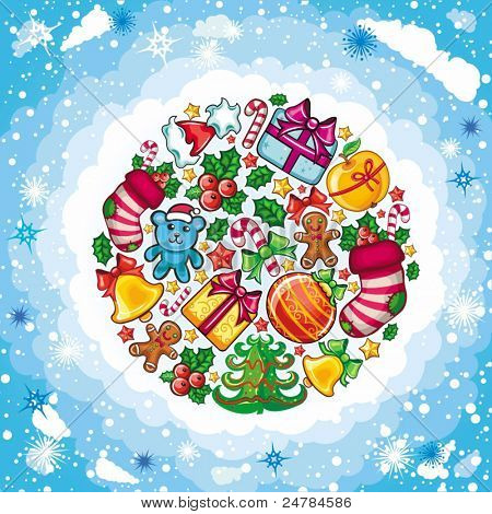 Christmas planet with colorful christmas objects: Christmas tree, stocking, gift box with bow, christmas bell, holly, jingle bell, Christmas wreath, star, gingerbread man