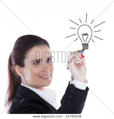 Businesswoman drawing and idea lamp on the whiteboard (selective focus)
