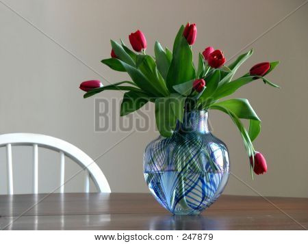 Tulips In Blue Vase 02
