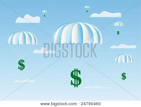 The Dollars Sign Goes Down On A Parachute