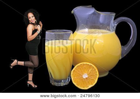Woman And Orange Juice