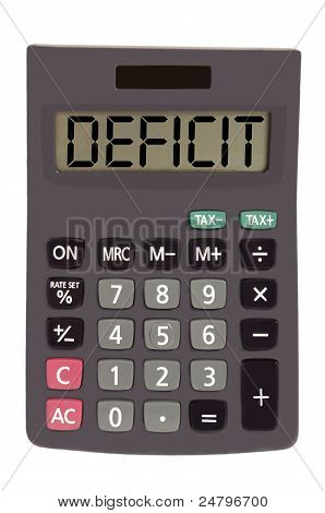 "Old Calculator On White Background Showing Text ""deficit"""
