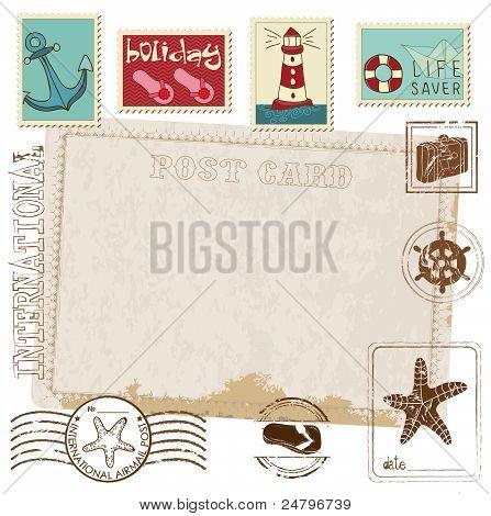 Retro Invitation Postcard With Sea Stamps - For Design And Scrapbook