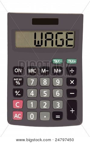"Old Calculator On White Background Showing Text ""wage"""