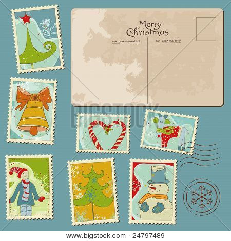 Vintage Christmas Stamps And Postcard - For Scrapbook, Design, Invitation, Greetings