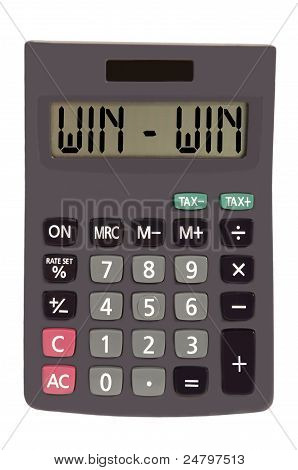 "Old Calculator On White Background Showing Text ""win - Win"""