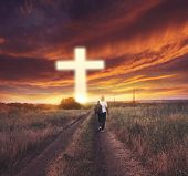 Light Cross Of Christ . Walk To The Cross .  Sunbeams And Cross . Sunset Man Of Prayerfulness poster
