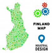 Gear Finland Map Composition Of Small Gearwheels. Abstract Geographic Scheme In Green Color Hues. Ve poster