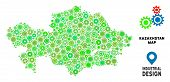 Gear Kazakhstan Map Composition Of Small Cogwheels. Abstract Territorial Scheme In Green Color Tinge poster
