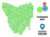 Gear Tasmania Island Map Mosaic Of Small Wheels. Abstract Geographic Plan In Green Color Tones. Vect poster