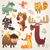 Cartoon Forest Animal Characters. Vector Illustration. Big Set Of Cartoon Forest Animals Illustratio poster