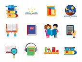 Book Icon Set. Magnifier Reading Book With Glasses Bookshelf E-book Open Book Children Reading Tales poster